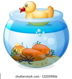Illustration of an aquarium with a rubber duck on a white background