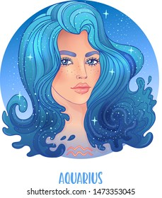 Illustration of Aquarius astrological sign as a beautiful girl. Zodiac vector illustration isolated on white. Future telling, horoscope, alchemy, spirituality, occultism, fashion woman.