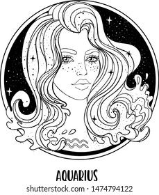 Illustration of Aquarius astrological sign as a beautiful girl. Zodiac vector drawing isolated in black and white. Future telling, horoscope, alchemy, spirituality. Coloring book for adults.