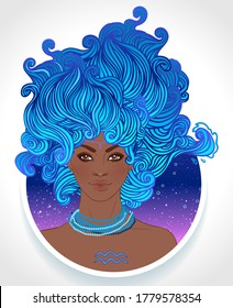 Illustration of Aquarius astrological sign as a beautiful African American girl. Zodiac vector illustration isolated on white. Future telling, horoscope, alchemy, spirituality, fashion black woman.