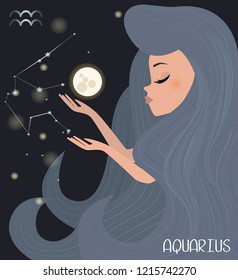 Illustration of Aquarius Zodiac signs character. Editable vector illustration