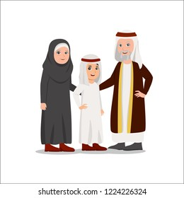 Illustration of Arabian Family, Grandparents with Grandchild Vector Cartoon Illustration