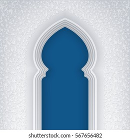 Illustration of arabic arch, with floral pattern, background for ramadan kareem greeting cards, EPS 10 contains transparency.