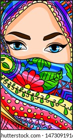 Illustration of an arabic, indian, oriental beuty wearing a hijab, niqab, sari scarf on her face.Vector of a muslim islam bedouin woman with a traditional ethnic veil, turban. Middle east doll cartoon