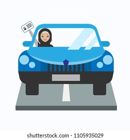 Illustration of arabic woman driving a car. Vector illustration.