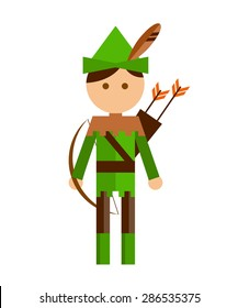 Illustration of archer in green costume on white background.