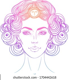 Illustration of Aries astrological sign as a beautiful girl. Zodiac vector gradient drawing isolated over white. Future telling, horoscope, alchemy, spirituality. Coloring book for adults.