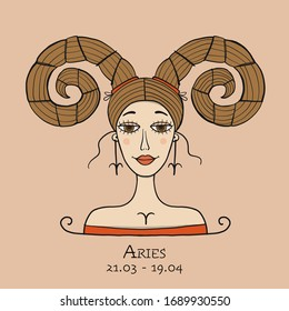 Illustration of Aries zodiac sign. Element of Fire. Beautiful Girl Portrait. One of 12 Women in Collection For Your Design of Astrology Calendar, Horoscope, Print. Vector illustration