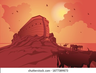 An illustration of Noah's Ark and the ark after the great flood. Bible series