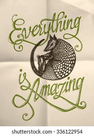 "Illustration of armadillo with ""Everything is amazing"" hand drawn quote on the textured paper background"