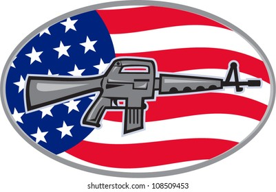 Illustration of  an Armalite M-16 Colt AR-15 assault rifle with American stars and stripes flag set inside ellipse viewed from side.