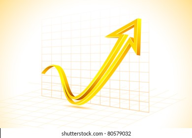 illustration of arrow on graph in abstract background