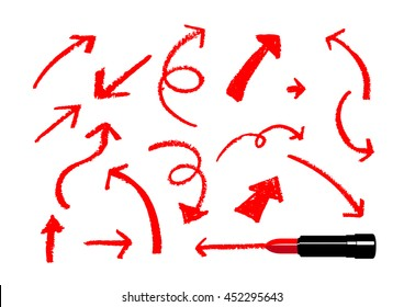 Illustration of arrows drawn by a red lipstick on white background.