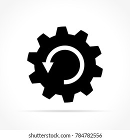 Illustration of arrrow in gear icon on white background