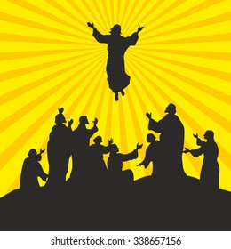 Illustration of the ascension of Jesus Christ. The apostles look at his teacher.