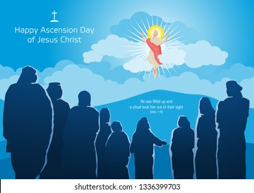 An illustration of the ascension of Jesus Christ with His Disciples