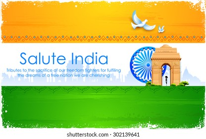 illustration of Ashok wheel and India Gate on tricolor flag