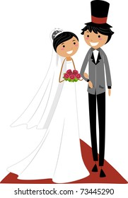 Illustration of an Asian Couple Walking on the Aisle