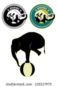 Illustration of Asian elephant in rope frame, silhouette of elephant balancing on a ball, vector