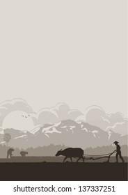 Illustration of Asian farmer plowing rice field, vector