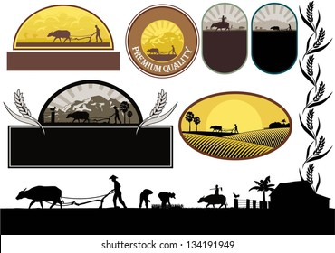 Illustration of Asian farmers plowing in rice field silhouette, vector