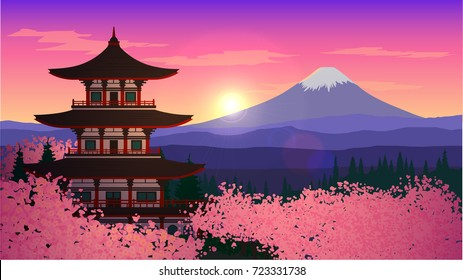 Illustration with an Asian temple and mountains. Japan, cherry blossom, Mount Fuji