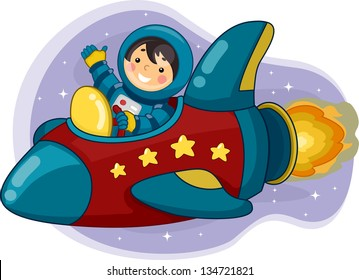 Illustration of an Astronaut Boy Riding a Space Ship