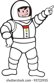 illustration of an astronaut standing and pointing facing front done in cartoon style.