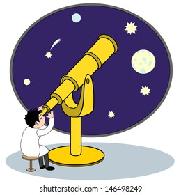 Illustration astronomer looking through a telescope at the stars