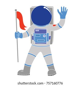 illustration of an astronout holding flag