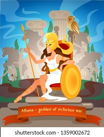 Illustration Athena Goddess of Victorious War. Vector Flat Cartoon against Backdrop Monuments Greek Culture. Woman Athletic Folded Sitting on Throne, Leaning on Shield and Holding Spear.