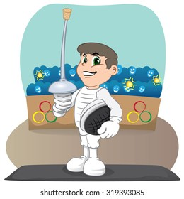 Illustration of an athlete person Caucasian fencing. Ideal for catalogs, informative and sporting catalogs