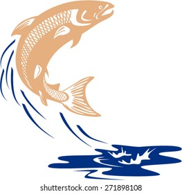Illustration of an Atlantic salmon fish jumping in water set on isolated white background viewed from the side done in retro style.