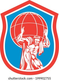 Illustration of Atlas carrying globe world earth on shoulders viewede from front set inside shield done in retro style.