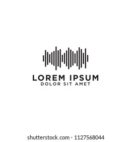 Illustration of audio wave logo design template