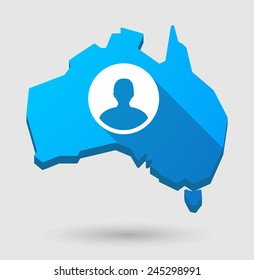 Illustration of an Australia map icon with a male avatar