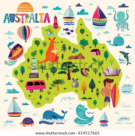 Illustration Australia Symbols Map Australia Stock Vector Royalty
