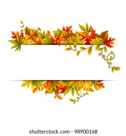 illustration of autumn banner with maple leaf