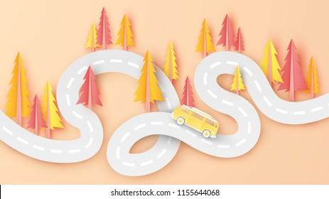 Illustration of autumn landscape with van car on road abstract view. Abstract autumn pine tree background with cute van car on the road. Autumn travel. paper art and craft style. vector. illustration.