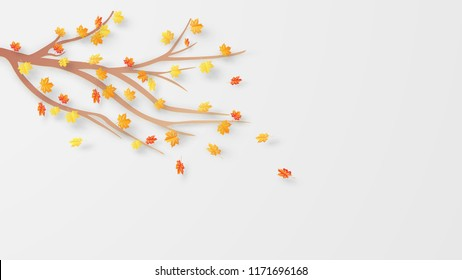 Illustration of Autumn with maple leaves blowing away in the wind. Maples falling background. paper cut and craft style. vector, illustration.