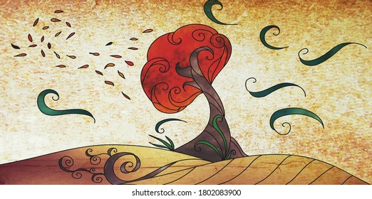 An Illustration of an Autumn windy day