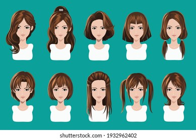 illustration avatar with hair style for game icon
