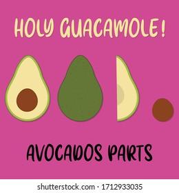 Illustration of avocado parts on pink background