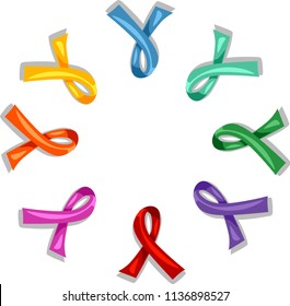 Illustration of Awareness Ribbons In Different Colors Arranged in Circle