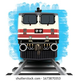 Illustration of awesome close front engine view of Indian train running on track