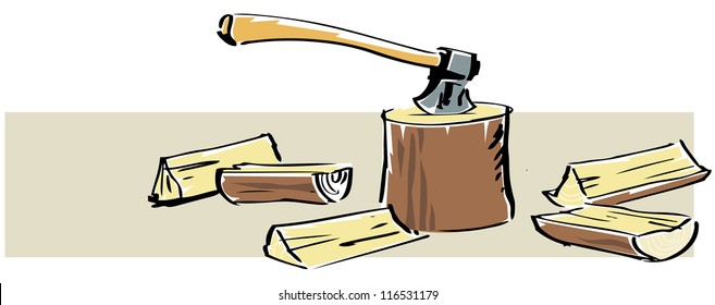 Illustration of an ax and chopped wood. The elements can easily be separated from the beige background.