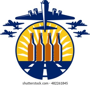 Illustration of a B-17 Flying Fortress, a World War two American four-engine heavy bomber taking off and in full flight with beer bottles in the runway  set inside circle done in retro style.