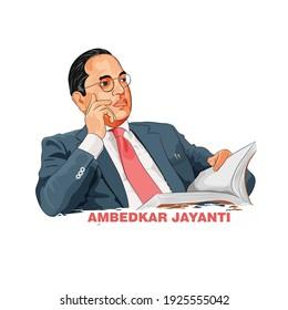 Illustration of Babasaheb Bhimrao Ambedkar, Ambedkar jayanti the father of Indian Constitution.