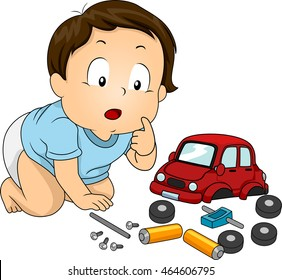 Illustration of a Baby Boy Looking Curiously at the Parts of a Toy Car
