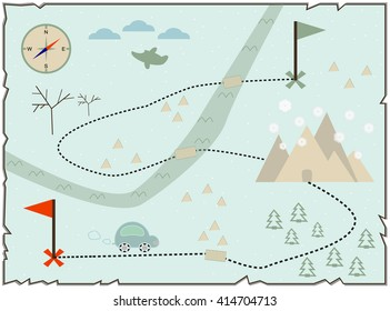 Illustration of the  baby map to find treasure,  showing winter island with cars and compass star. vector.